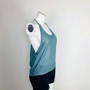 Onzie Yoga Mesh Gray High-Low Tank Top T-Back